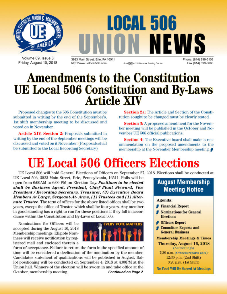 August News 2018 Ue Local 506